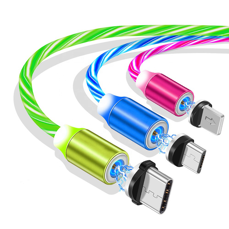 Flowing Light LED Magnetic Charging <strong>Cable</strong> Micro USB Type C Magnet USB <strong>Cable</strong> Streamer Phone Charger <strong>Cable</strong> For iPhone