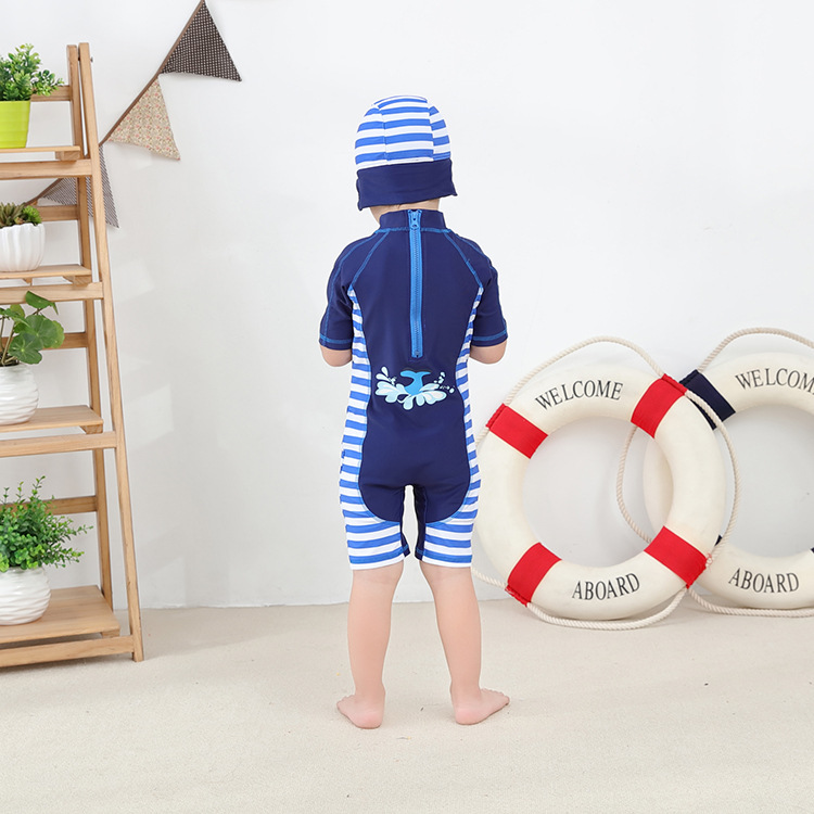Blue Colorful Fish Star Printing Swimwear Baby Kids Short Sleeve Baby Boy One Piece Swimsuit