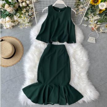 2020 mujeres vestidos faldas de dos piezas conjunto de ropa 2 piezas trajes vestidos