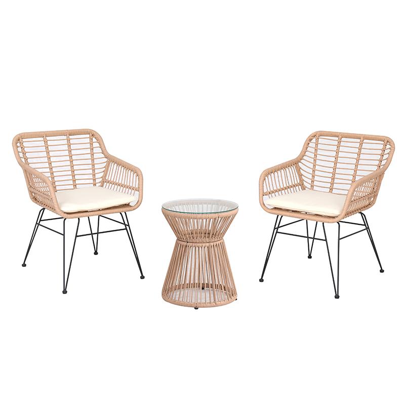 Nuevo diseño al aire libre juego de bistro chat de ratán PE/sillas de mimbre pequeño patio con cojines y Mesa