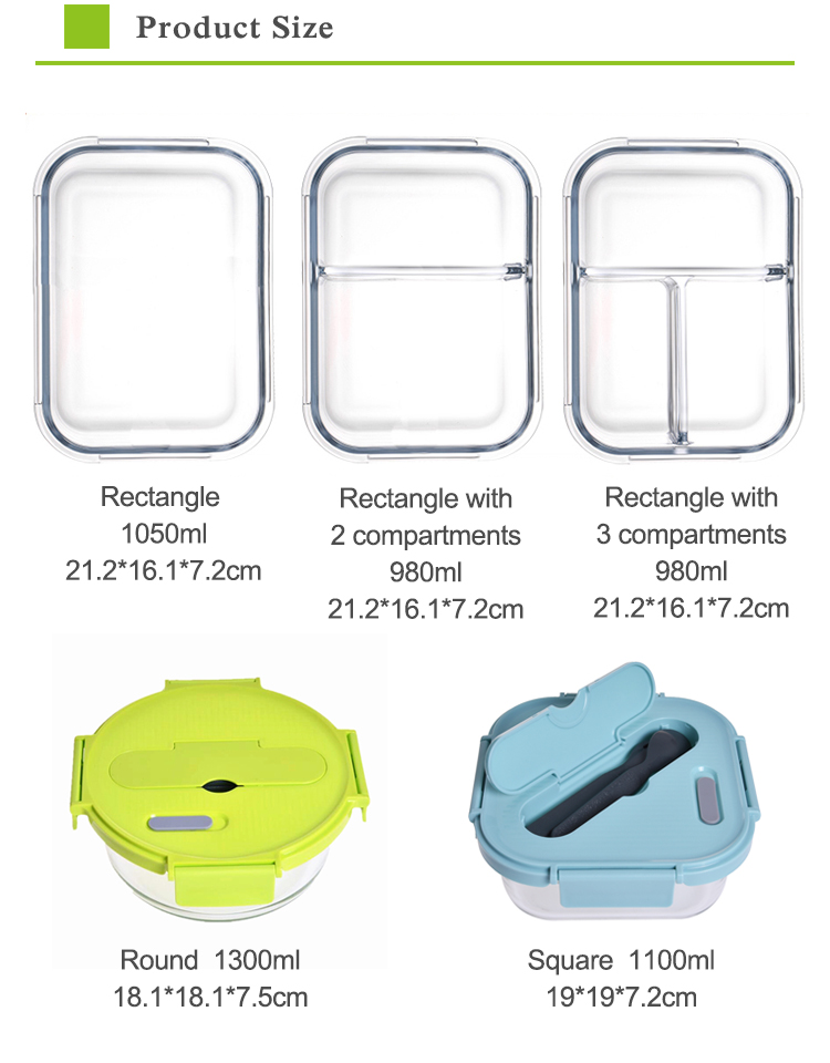 Airtight food storage 4 side locked lunch box bpa free containers with cutlery