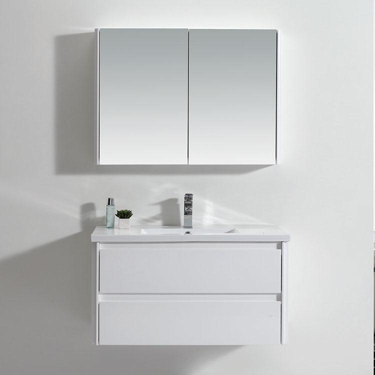 Modern Style New Design White Large Bathroom Mirror Under Storage Cabinet