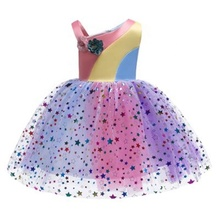 <span class=keywords><strong>Regenbogen</strong></span> Farbe Satin Ballkleid Kleid Off schulter Party Tragen puffy weiche bling mesh