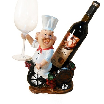 Innovative Happy Fat Chef Wine Rack Resin Wine Bottle Holder Stand Home Living Room Hotel Table Decoration Wedding Ornament