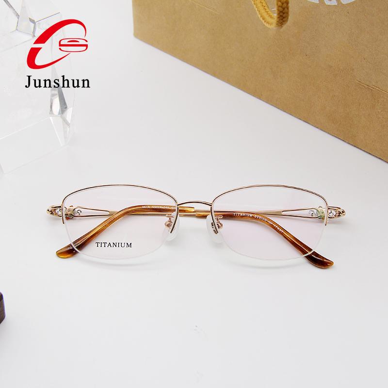 Halb-rim luxus wasser spray mit natürliche achat stein dekoration mode titan optische brillen brillen rahmen für damen