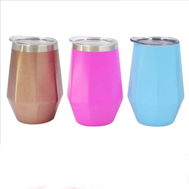 UCHOME 12oz Wine Tumbler Cups Diamond Shape Stainless Steel Vacuum Insulated Mug With Lid