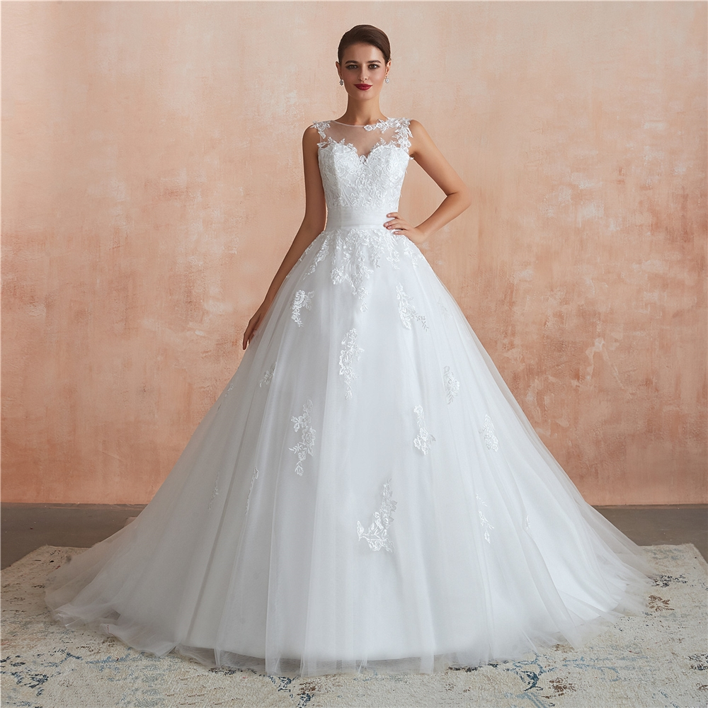 wedding dress 2020 african white lace fabric wedding dress  ball gown cheapest dacron dress lace wedding gown vestido de noiva