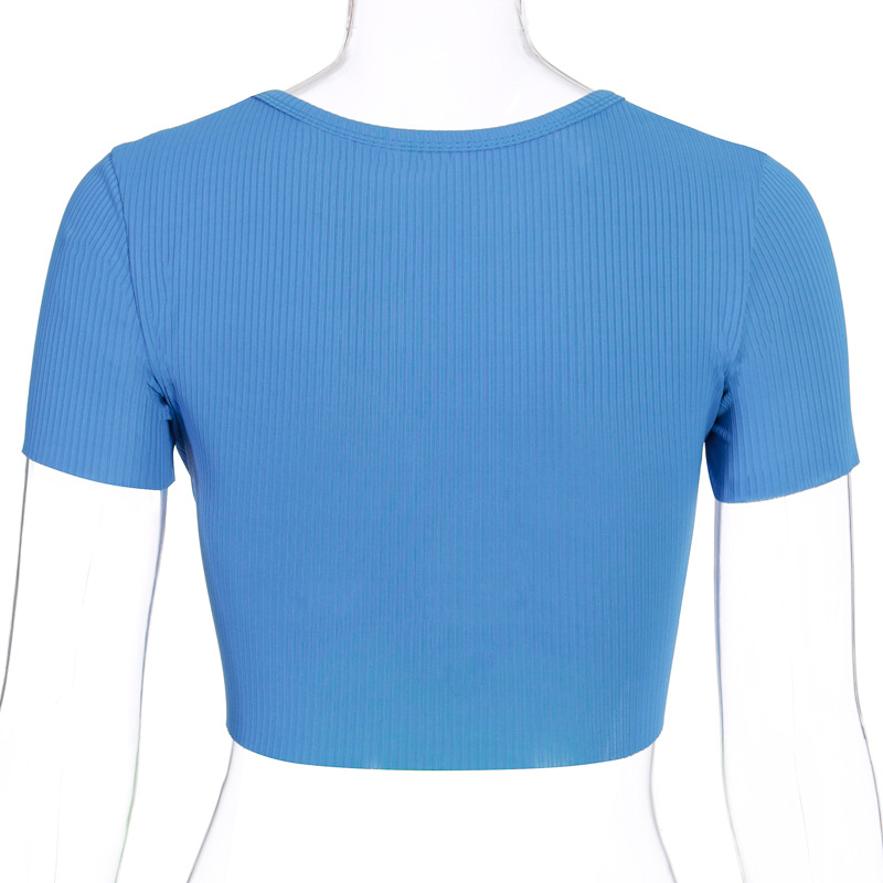 New design ribbed crop top women t shirt short sleeve sexy lady