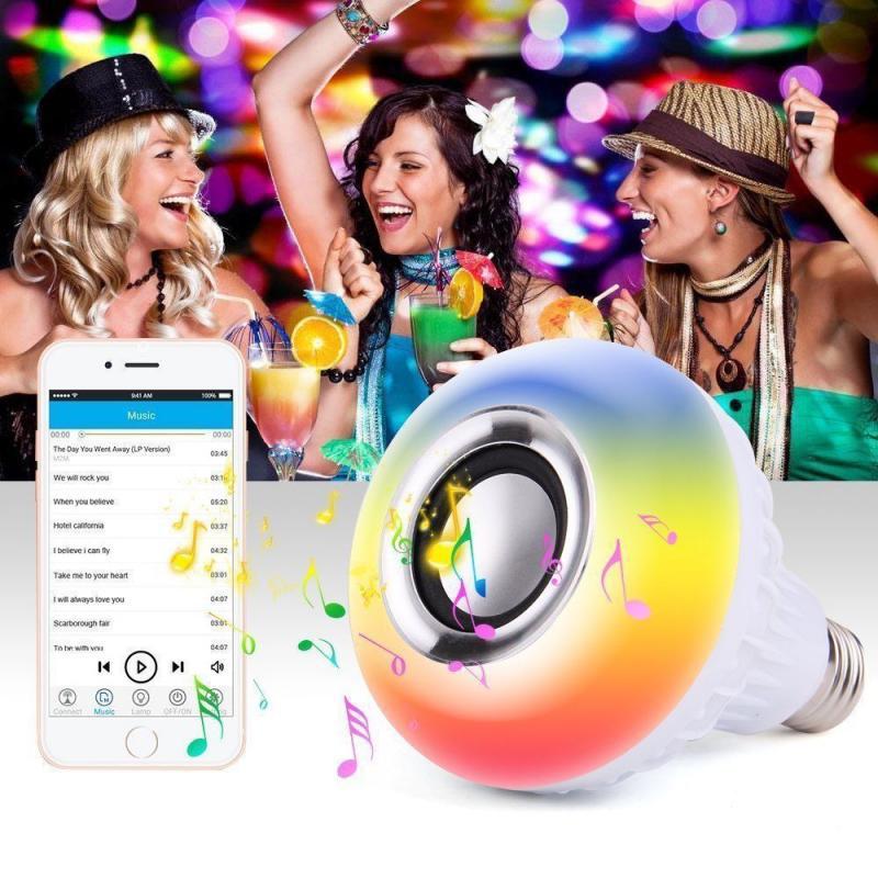 E27 12W LED de ahorro de energía WiFi Bluetooth altavoz inteligente luces con Control remoto