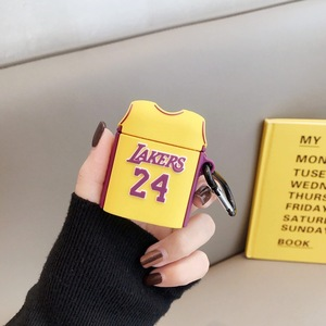 Sports 3D Silicone Cartoon Cover case for Airpods Wireless earbuds Case Cover No. 24 T-shirt Lakers