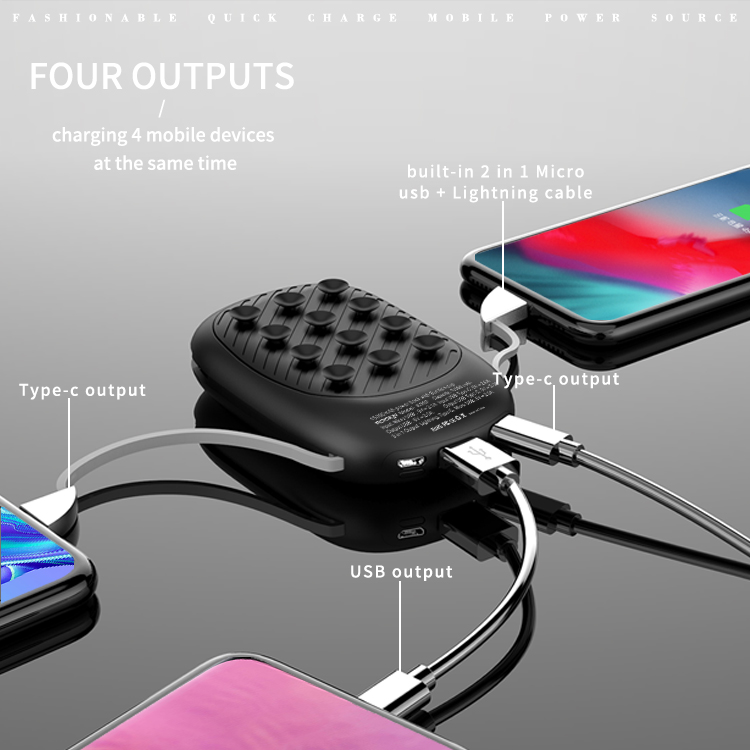 New mini small power bank 10000mah with suction cup with customized LED logo