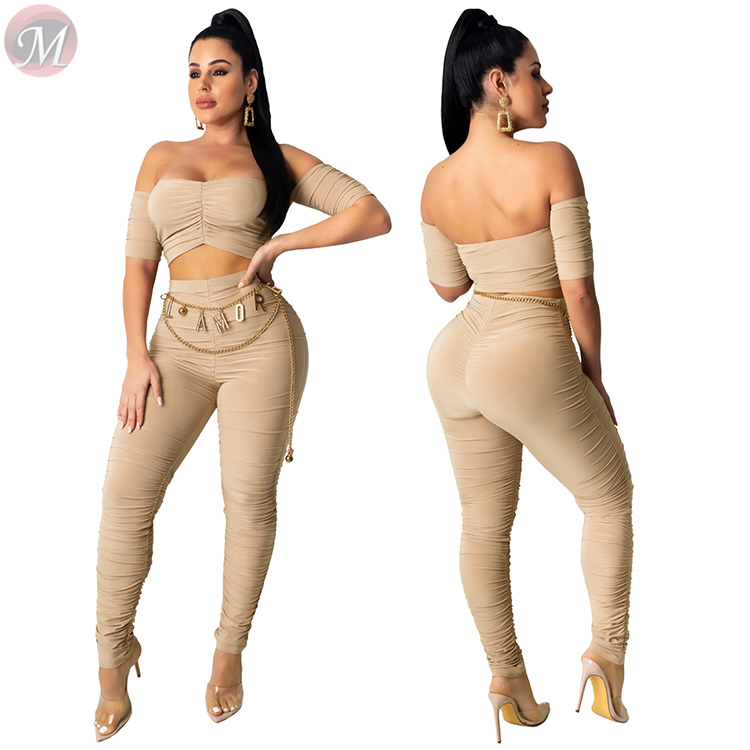 9121822 hot selling sexy off the shoulder crop top clubwear plicated tight suit Two Piece Set Women Clothing