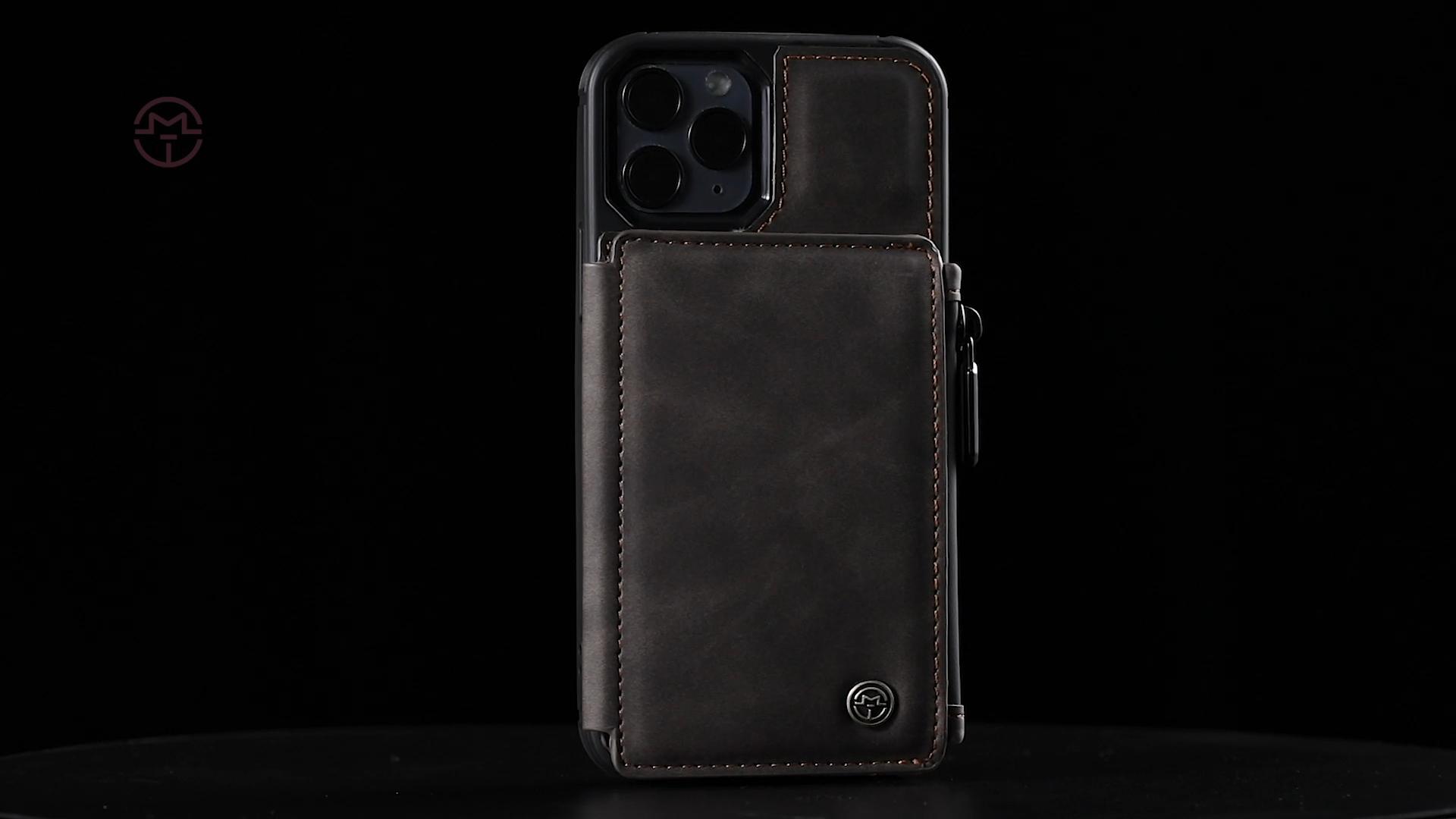 CaseMe Beste Verkauf 2020 für Apple iPhone 12 Fall Leder Zurück Abdeckung Weiche TPU Günstige Preis Zipper Card Slots für iPhone 11 Abdeckung