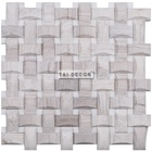 Marble Mosaic Basketweave White Mix Wooden Grey Glossy Wall Tile