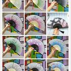 P315 Japanese style hand Fan Silk Female Fans home decoration ornaments Peony Chinese Painting Picture Retro Fans