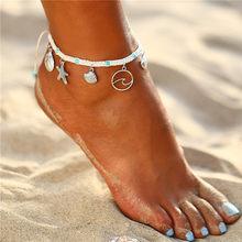 Женский богемный браслет для щиколоток с камнем IF ME, винтажный плетеный браслет с подвеской на ногу, пляжный браслет на лодыжку, новый подар...(Китай)