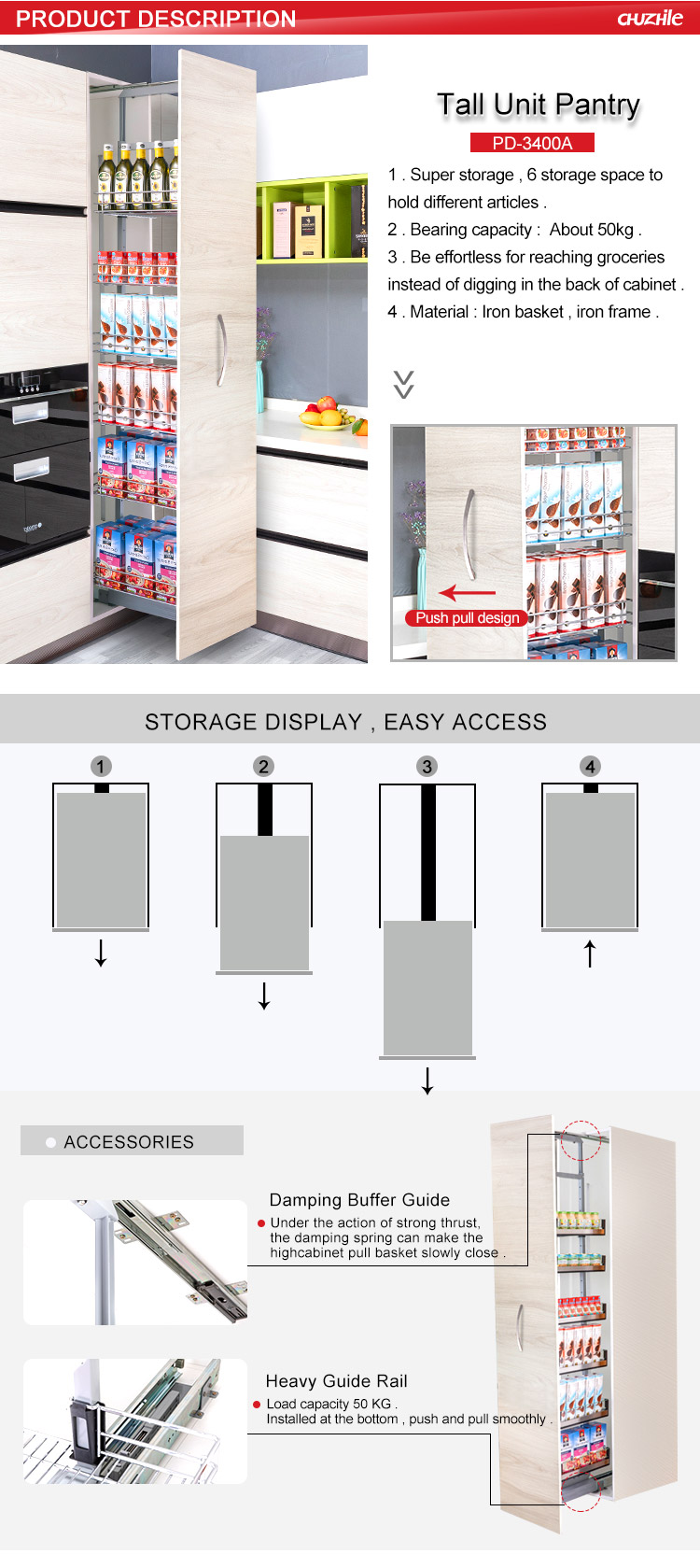 Oem Tall Unit Price Kitchen Cabinet Wine Drinks Pantry