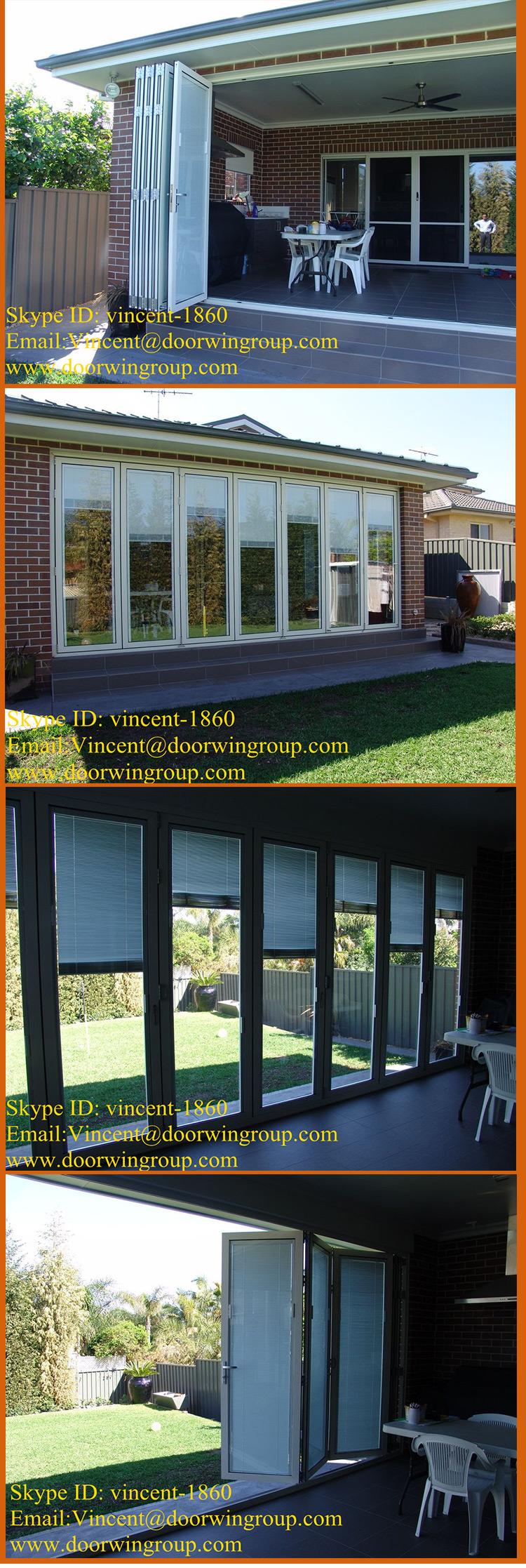 Best selling Aluminum Bi Folding Door Horizontal openning style bi folding window and door Hollow Glass Accordion