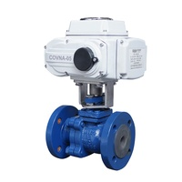 COVNA Motorized Actuator 2 Way 3 Inch JIS 10K SCS13 Cast Iron Flange End Ball Valve
