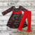 Factory Wholesale Design Baby Valentine's Day Red Love Pattern Print Little Girl Long sleeve Dress Set