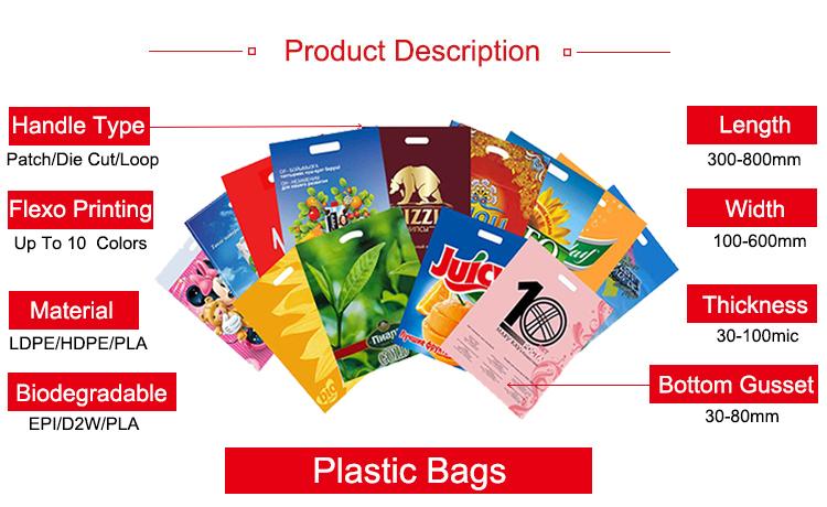 Boutique Chine Fabricant Fournisseur Mignon Polythène Recyclé Conception Logo Sac D'emballage En Plastique Pour Faire Du Shopping