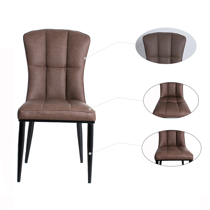 Hot sale Modern dining room furniture Brown high back PU leather smooth surface leisure chair dining chair