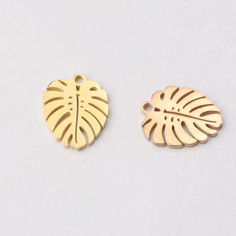 Stainless Steel Mirror Polished Metal Pendant DIY Jewelry Making Tree Leaf Charm Pendant for Necklace Bracelet