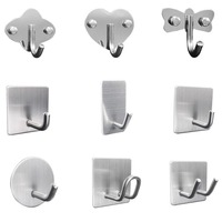 Customized Nail Free 304 Stainless Steel 3M Sticky Wall Hooks Key Hanger Coat Love Shape Wall Hooks