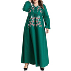 African green v neck embroidery ball gown plus size dress for women