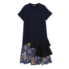Женское платье с коротким рукавом EAM, платье с принтом и оборками, круглый ворот, свободный крой, весна-лето 2020 1T347(Китай)