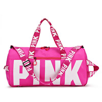customized logo large capacity pink duffle bags gym women waterproof sports travel bag