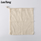 Biodegradable Organic Cotton Reusable Mesh Drawstring Bag Shopping Mall Fruit Vegetable Produce Bag