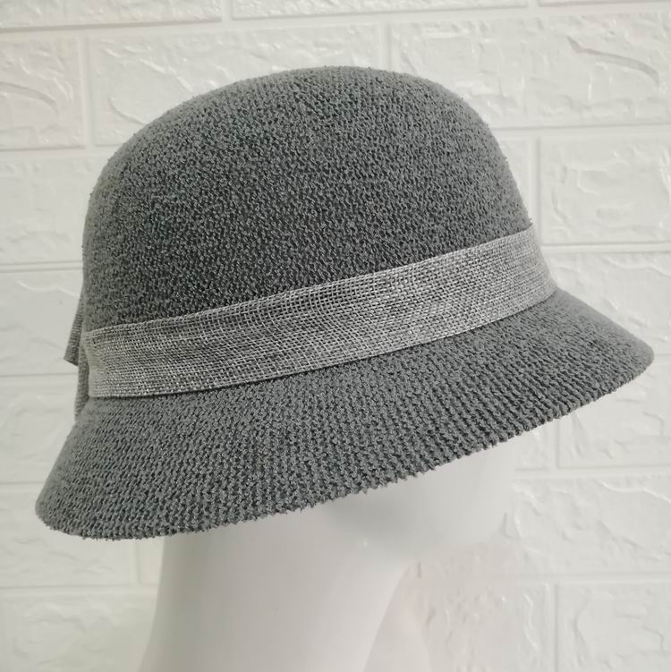 High quality women lady knitted top fisherman hat with bow for Party and banquet