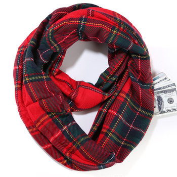 Winter Spring Travel Acrylic Tartan Plaid Checked Infinity Loop Scarf with Invisible Pocket