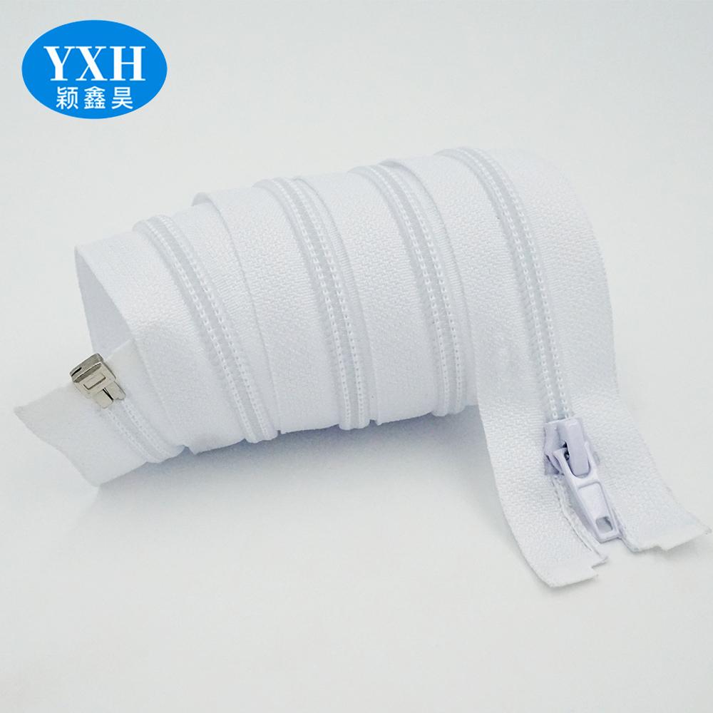 High quality white open end #5 nylon automatic lock zipper