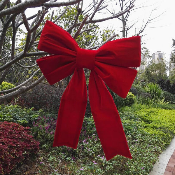 "Christmas Tree Hanging Decoration Jumbo 3D Structural Red Waterproof Oxford Fabric Ribbon Bow.  18"",24"",36"",48"",60"",72"",96"""