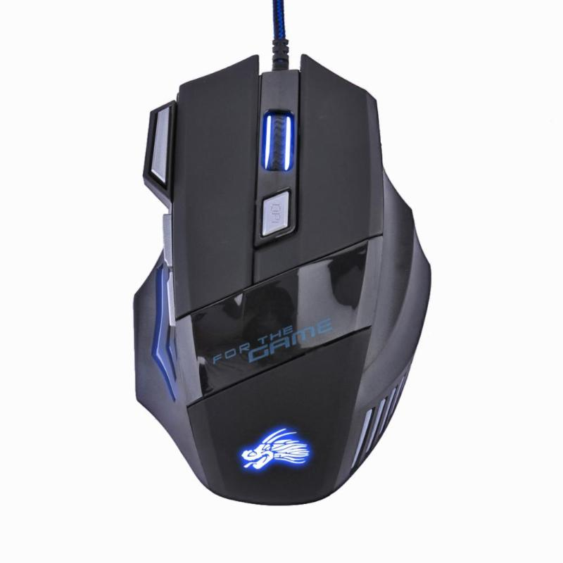7 Buttons Adjustable USB Cable LED Optical Gamer Mouse 5500DPI Wired Gaming Mouse for Computer Laptop PC Mice Black