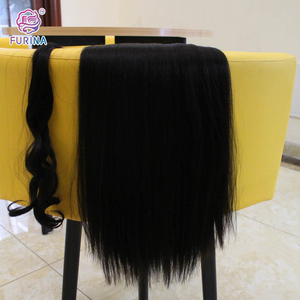 Black women wrap around 160g 26inch 2# Yaki Straight heat resistant ponytail hair extensions