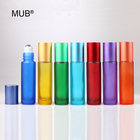 MUB Portable 10ml Perfume Bottle Colorful Frosted Empty Roll On Bottle Refillable Roller Bottle With Stainless Steel Roller Ball