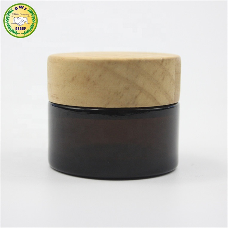 1oz 30ml amber glass cream bottle jar for cosmetic with bamboo cap <strong>wooden</strong> lid unique <strong>products</strong> 2019