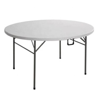 2019 Latest Plastic Foldable Iron White Round Portable Extendable Dining Table For Banquet Camping Modern