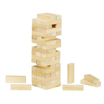 Wholesale Custom Logo Wooden Classic Mini Tower Game Toy 54 Hardwood Blocks Wood Craft for Kids