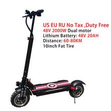 Без налога 48 в 2000 Вт Электрический самокат для взрослых, складные электрические скутеры высокой мощности 80 км, электрический скейтборд, эле...(Китай)