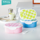 BPA free leakproof oval shape 2 compartments plastic PP lunch box kid lunch box bento lunch box with spoon for promotion