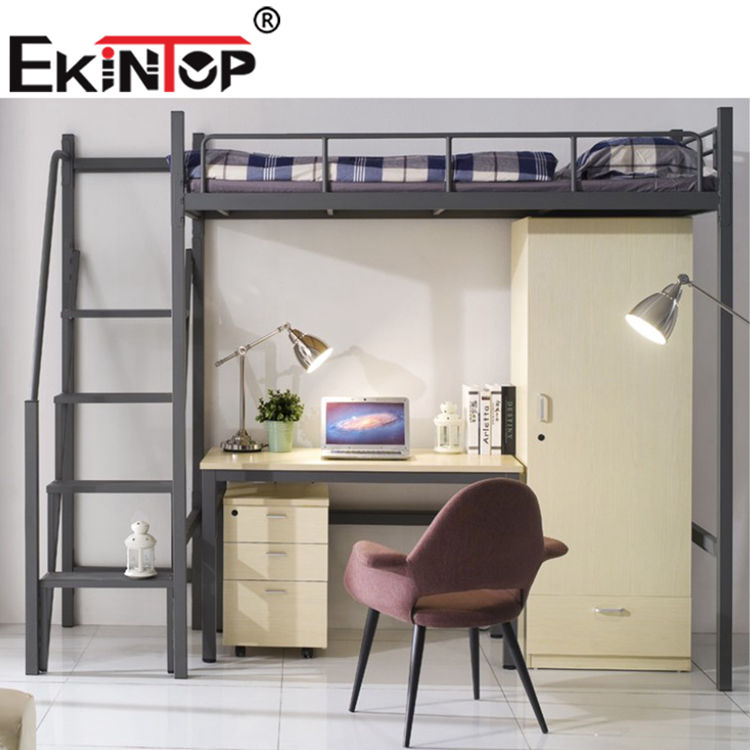 Ekintop multi functional comfortable fram bunk bed and locker with table blind student dormitory bed