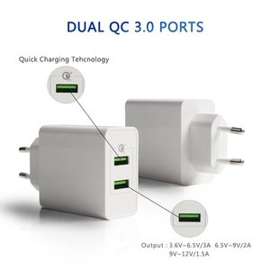 36W Fast Charger Mobile Phone 12V 1.5A Dual QC3.0 Port USB Wall Charger EU Plug