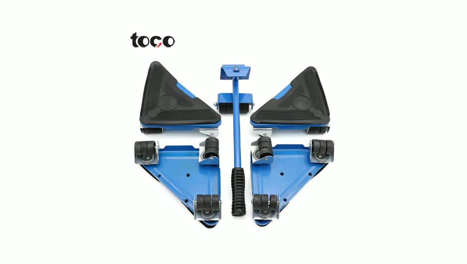 TOCO तीन 3 पहिया चलती डॉली परिवहन लिफ्ट स्थानांतरित स्लाइड ट्राली पहिएदार मूवर्स 5pcs फर्नीचर चोर स्लाइडर्स किट