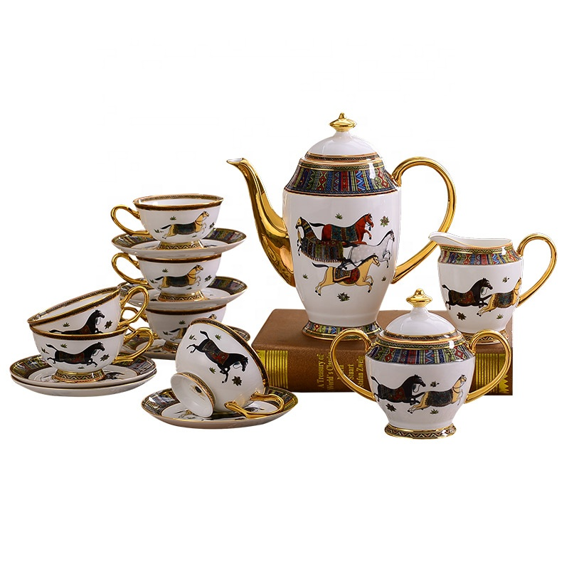 <strong>Porcelain</strong> Ceramic <strong>tea</strong> cup <strong>set</strong> <strong>porcelain</strong> 15pcs coffee teapot <strong>set</strong> for gift