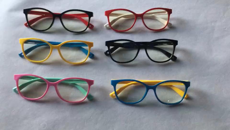 Venta al por mayor caliente 2019 niños Anti-Luz Azul gafas de niño de Gel de sílice de Marcos ópticos de bloqueo de luz azul gafas de juguete