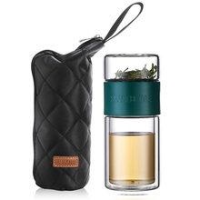 200 мл стеклянная бутылка для воды с чайным фильтром, фильтр с двойными стенками, стеклянные дорожные бутылки для заварки кофе, посуда для нап...(Китай)